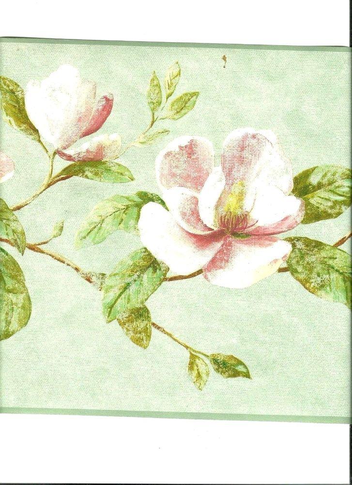 English Magnolia Flowers on Branches Wallpaper Border AZ5225B eBay 727x1000