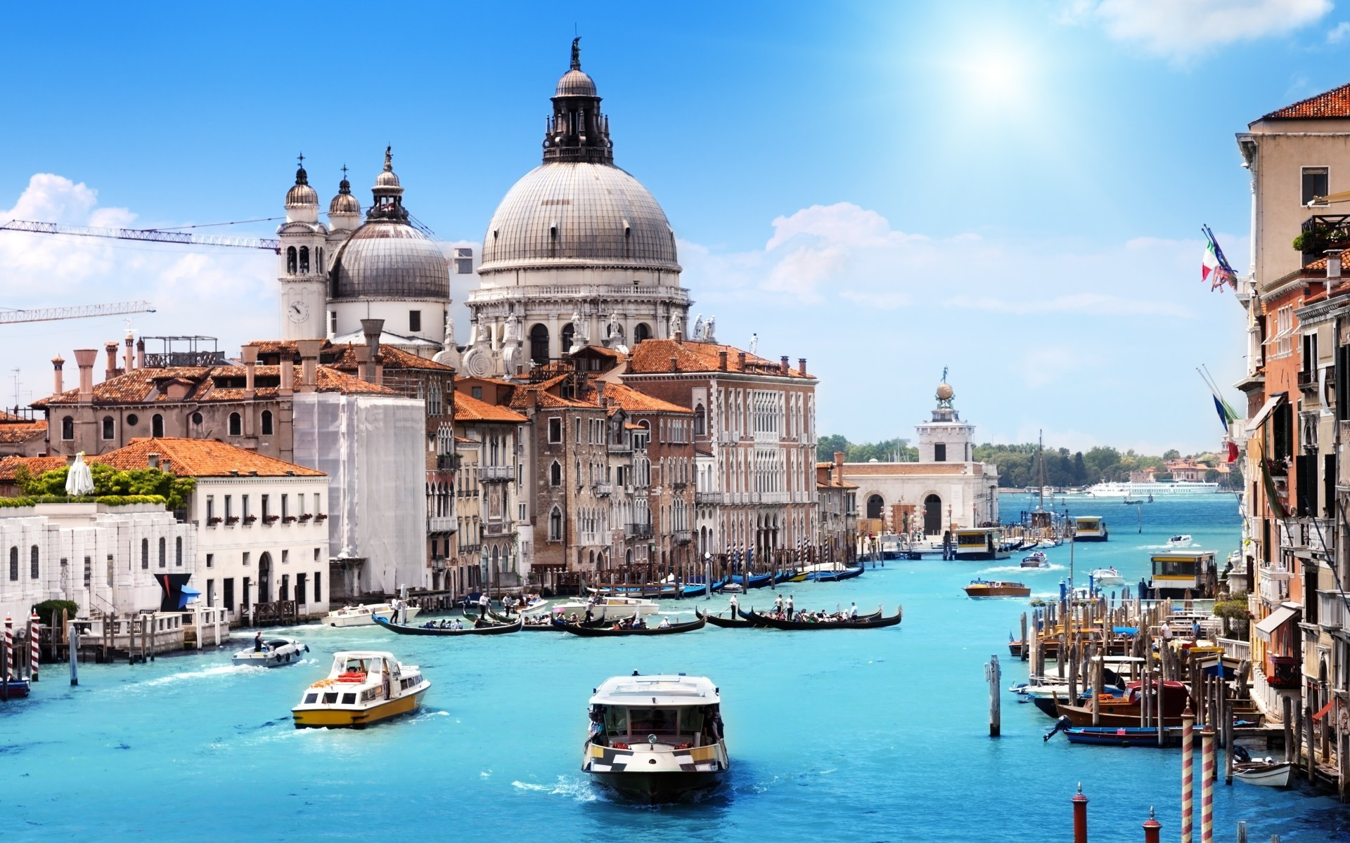Venice Italy City Canal Building Landscape Boat 1920x1200