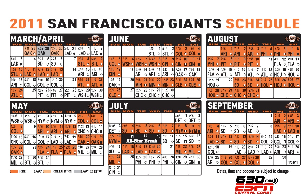 Sf Giants Schedule 2020 Printable.Free Download Printable Schedule For 2014 San Francisco