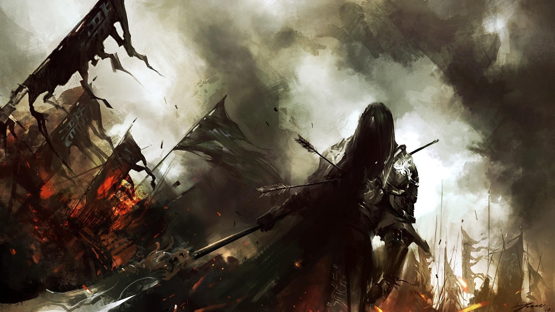 dark warrior knight battle weapons army fire art wallpaper background 1920x1080