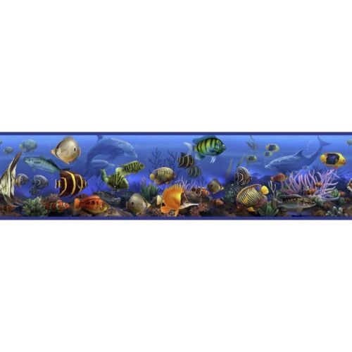 New Tropical Fish Wallpaper Border Ocean Blue Peel Stick Bathroom Wall 500x500