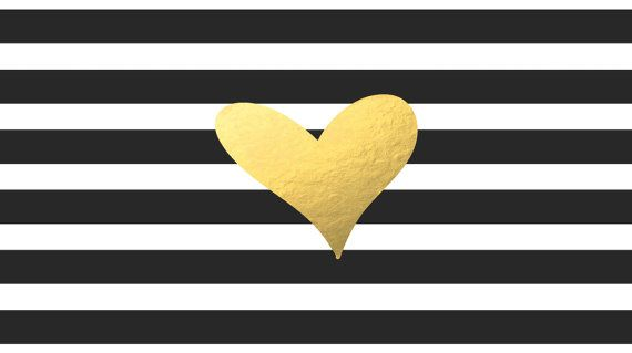 Black White Stripe with Gold Foil Heart Computer Desktop Wallpaper 570x319