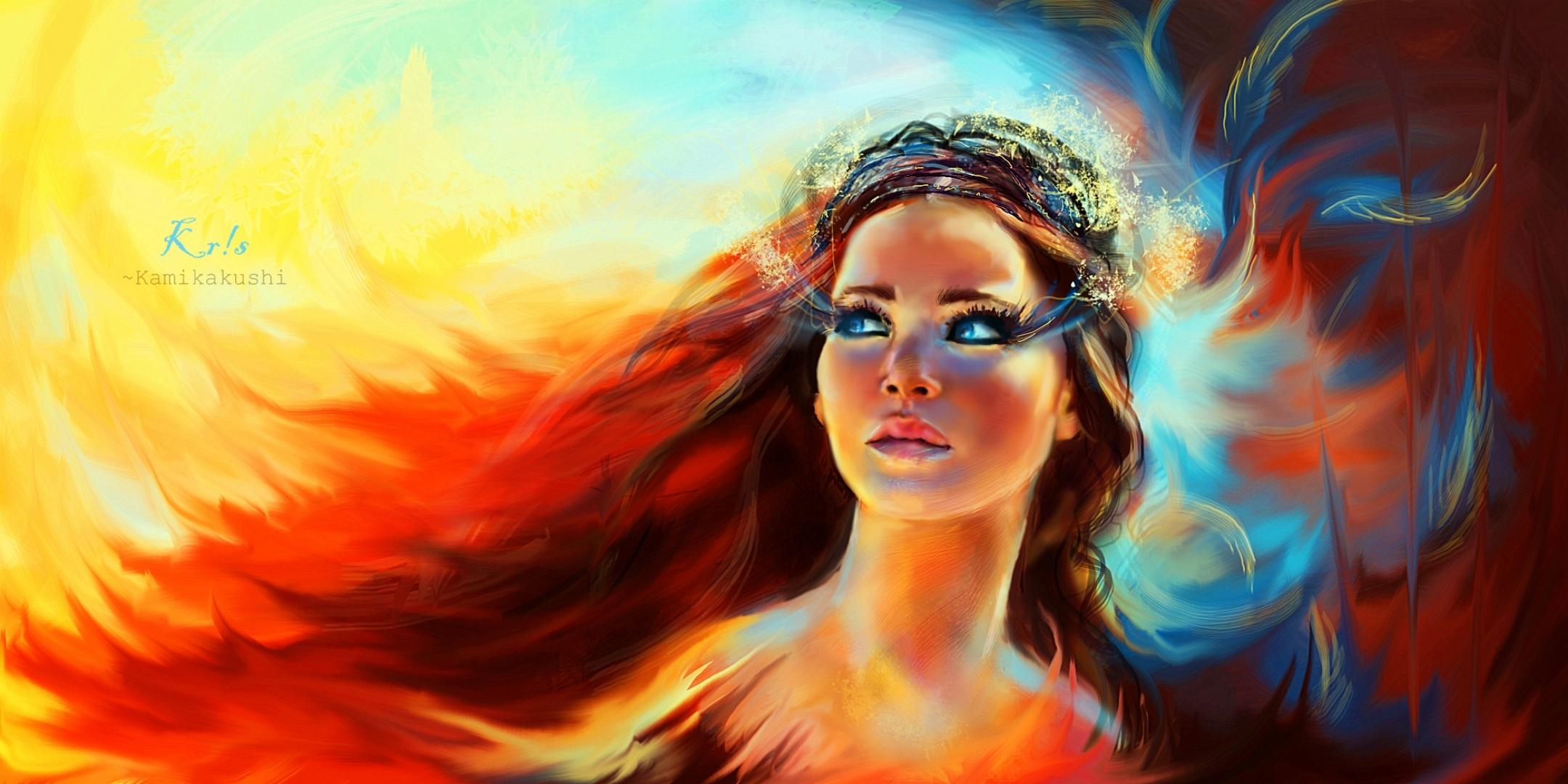 Katniss Everdeen The Hunger Games Illustration Desktop Wallpaper 2160x1080