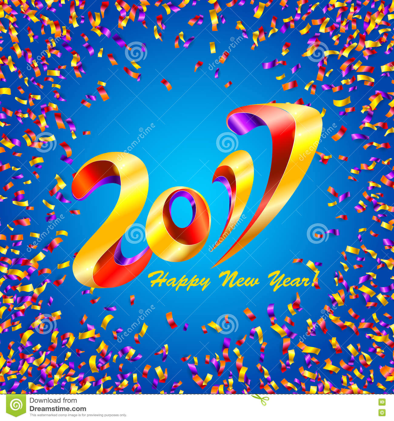 New Year 2017 Celebration Background With Confetti Cartoon 1300x1390