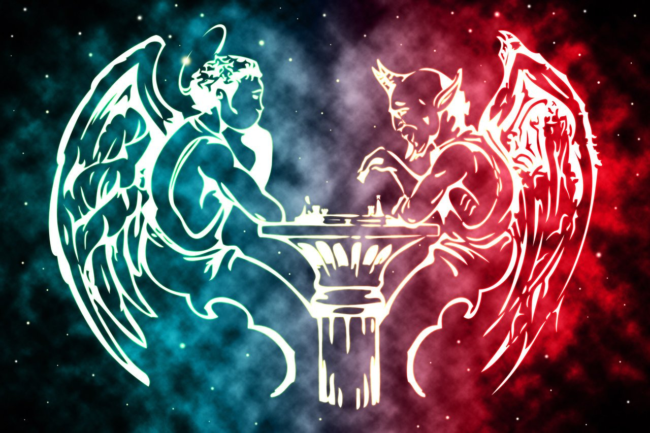 Paintings Angel and Devil Playing Chess by artist UshumGal 1280x853