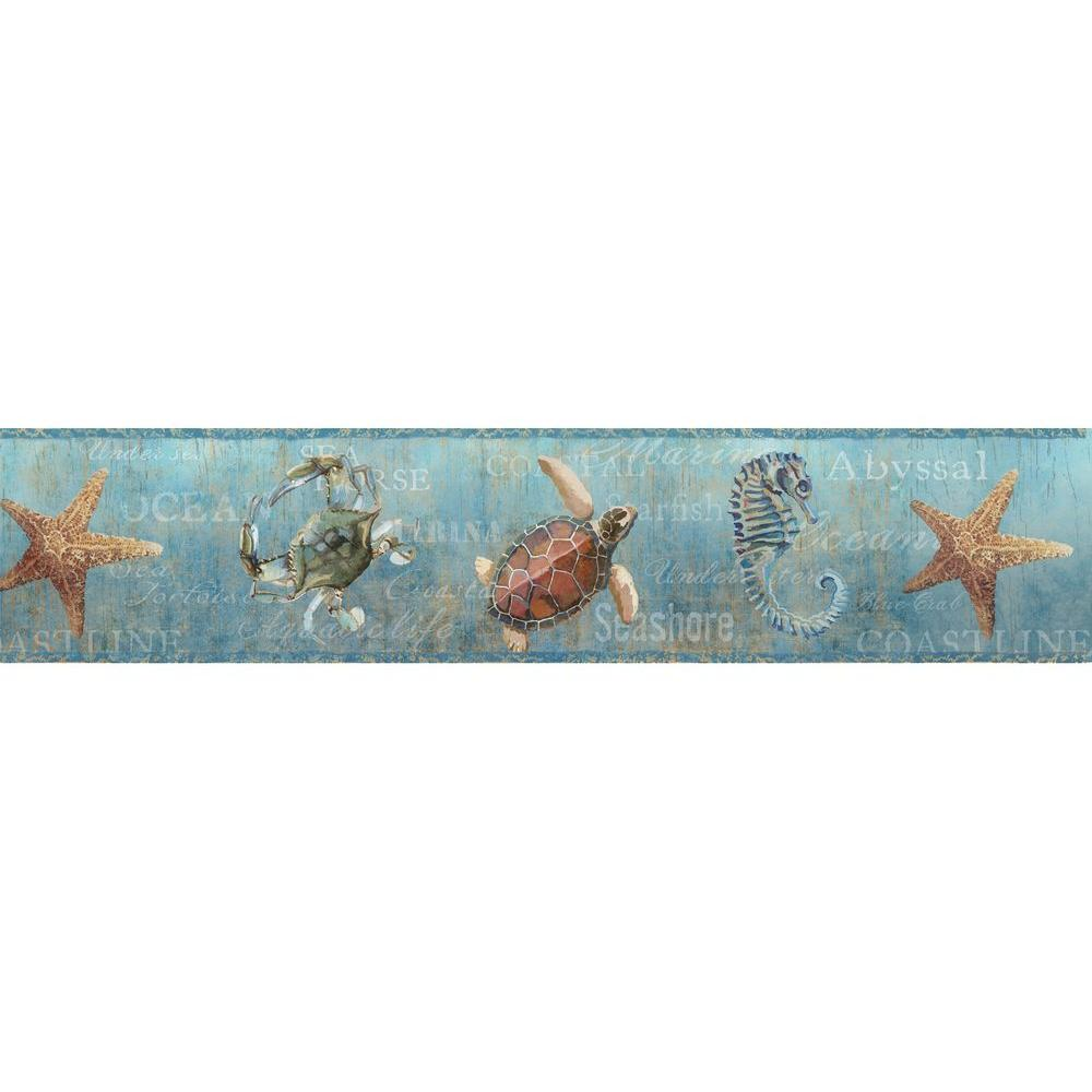 Chesapeake Coastal Teal Newport Lagoon Wallpaper Border Sample 1000x1000