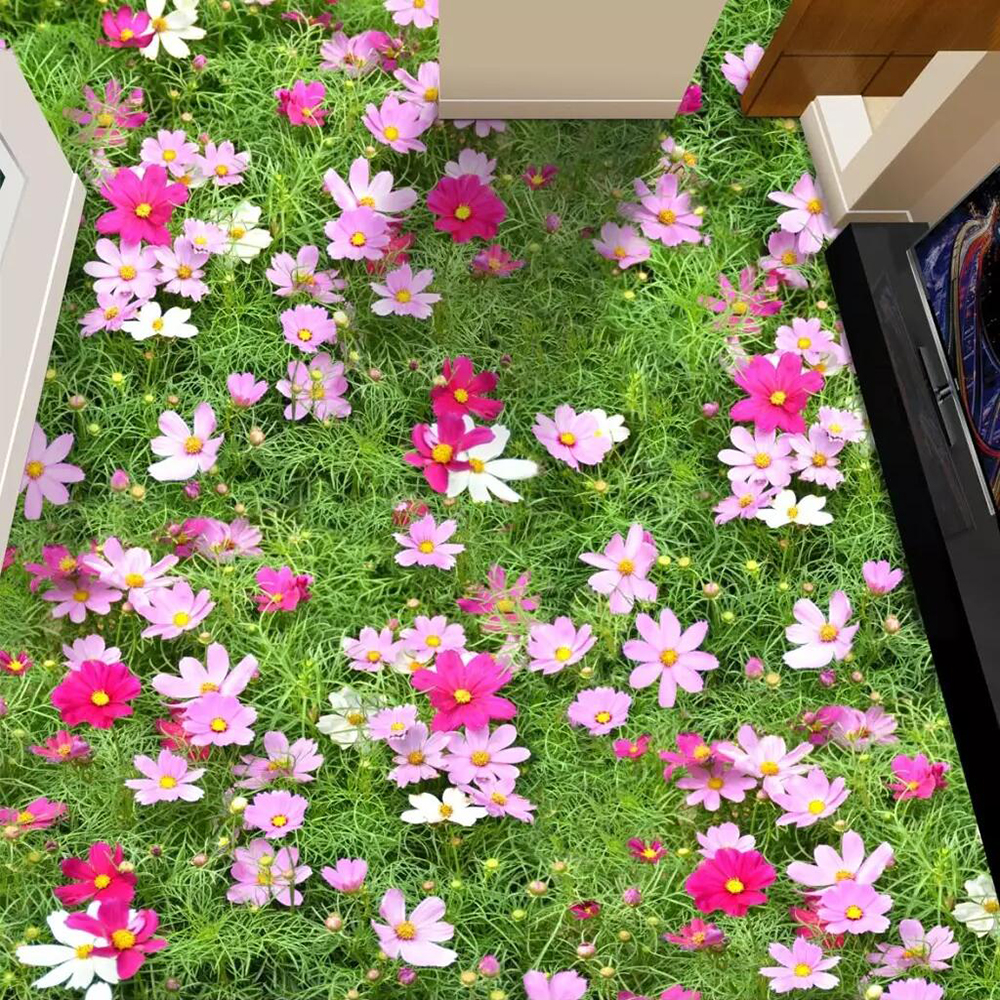 Floor wallpaper Flowers everywhere Floor PictureFabric Textile 1000x1000