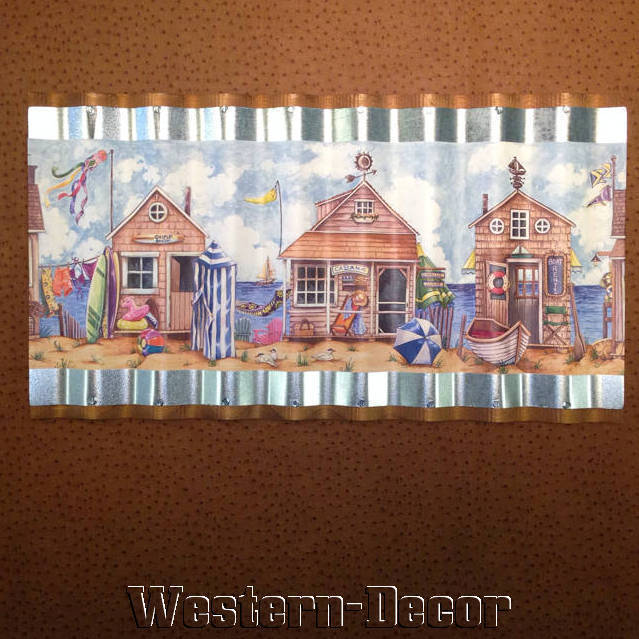 Art Metal Seaside Cabana Hut Ocean Wallpaper Border Picture eBay 639x639