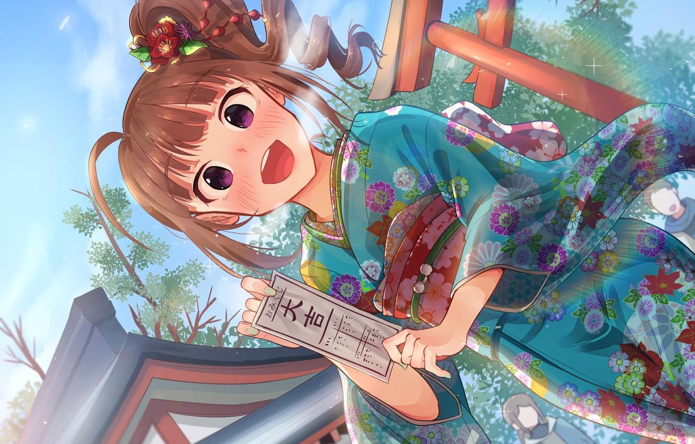 Wallpaper anime girl yukata IdolMster images for desktop 1332x850