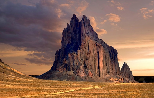 Wallpaper shiprock peak new mexico desert rock formation wallpapers 596x380