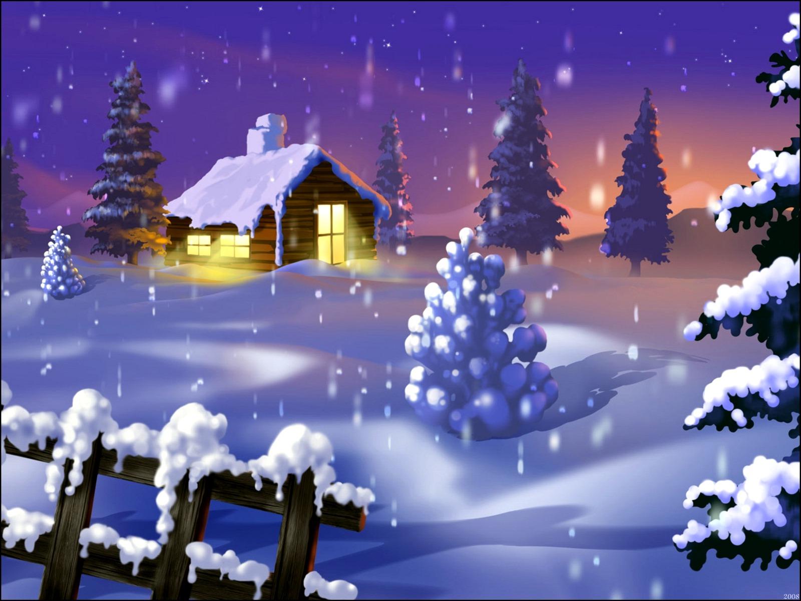 Free Christmas Cabin Wallpaper