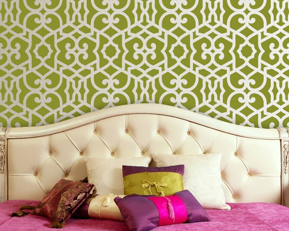 Wallpaper Wednesday Etsy Wall StencilsTheres No Place Like Home 570x456
