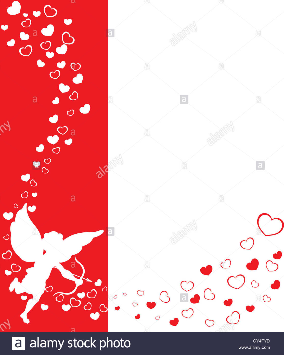 love angel eros on a red background with hearts Stock Photo 1114x1390