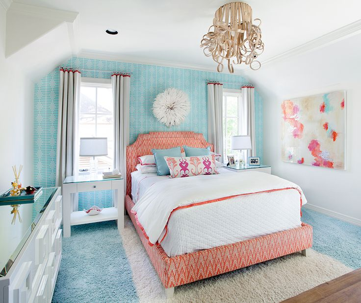 Bright girls bedroom with aqua blue geometric wallpapered accent 736x619