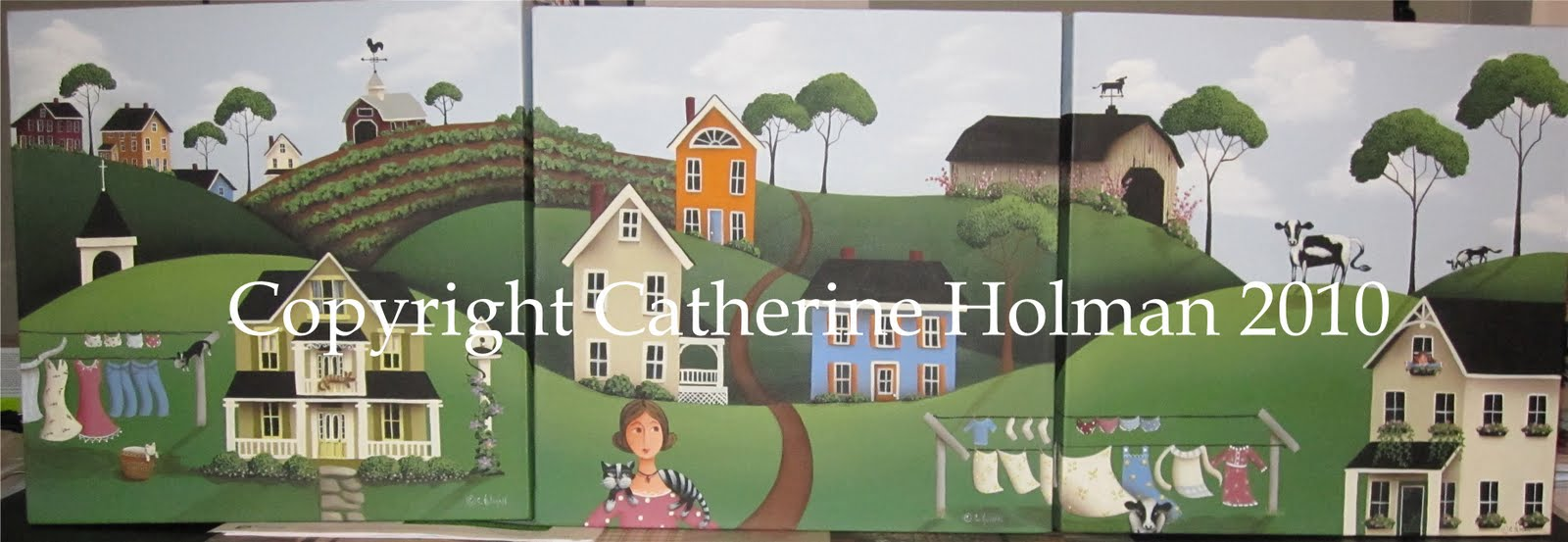 Holman Folk Art Three Folk Art Farm Scenes Create Wallpaper Border 1600x553