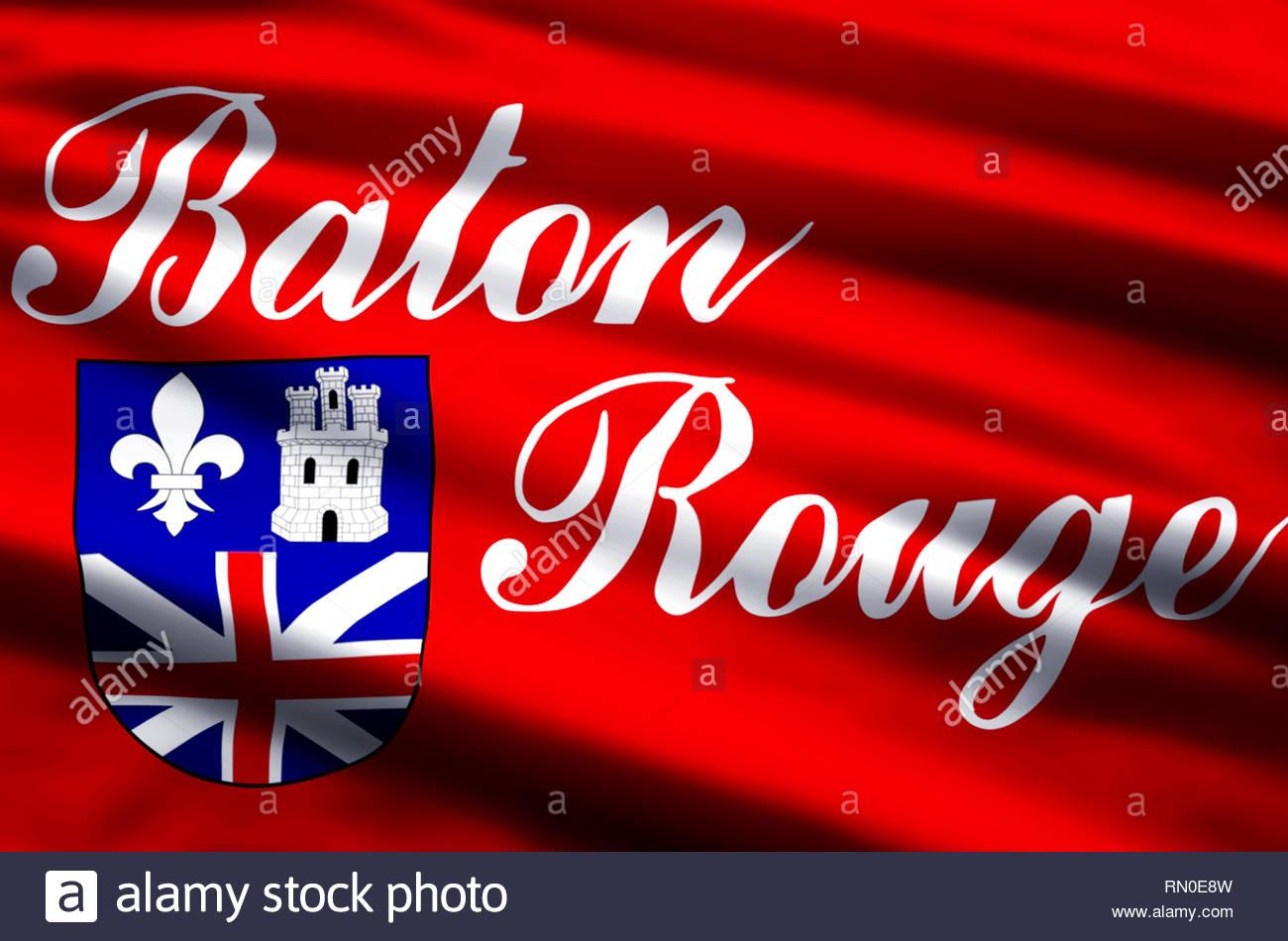 Baton Rouge stylish waving and closeup flag illustration Perfect 1300x950