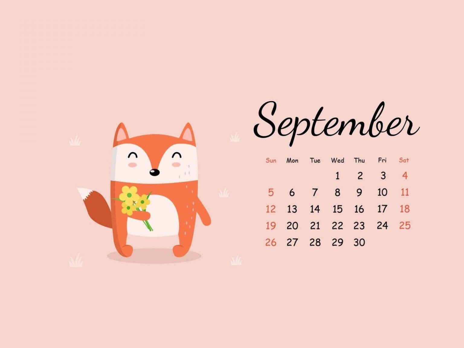 September 2021 Desktop Calendar Wallpaper in 2021 Calendar 1536x1152