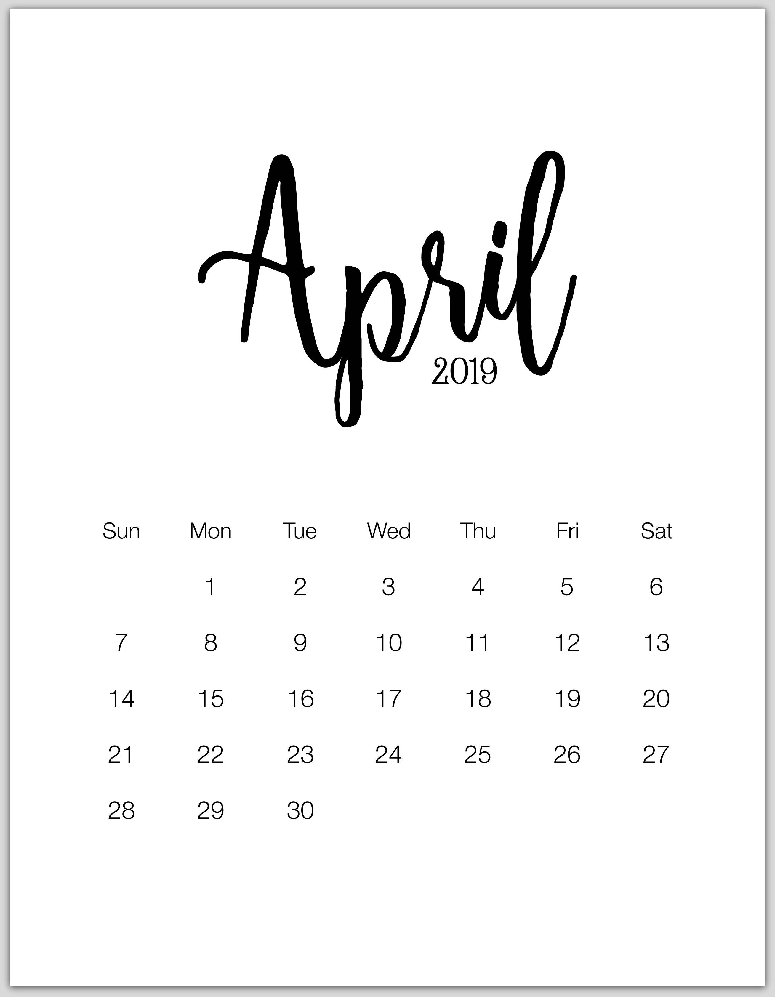 april 2019 minimalist calendar 2019 Calendars Calendar 2616x3366