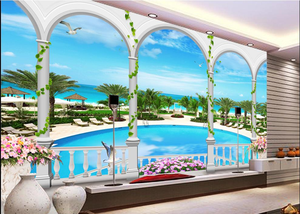 customized wall paper Beachfront Resort 3d mural backdrop 989x707