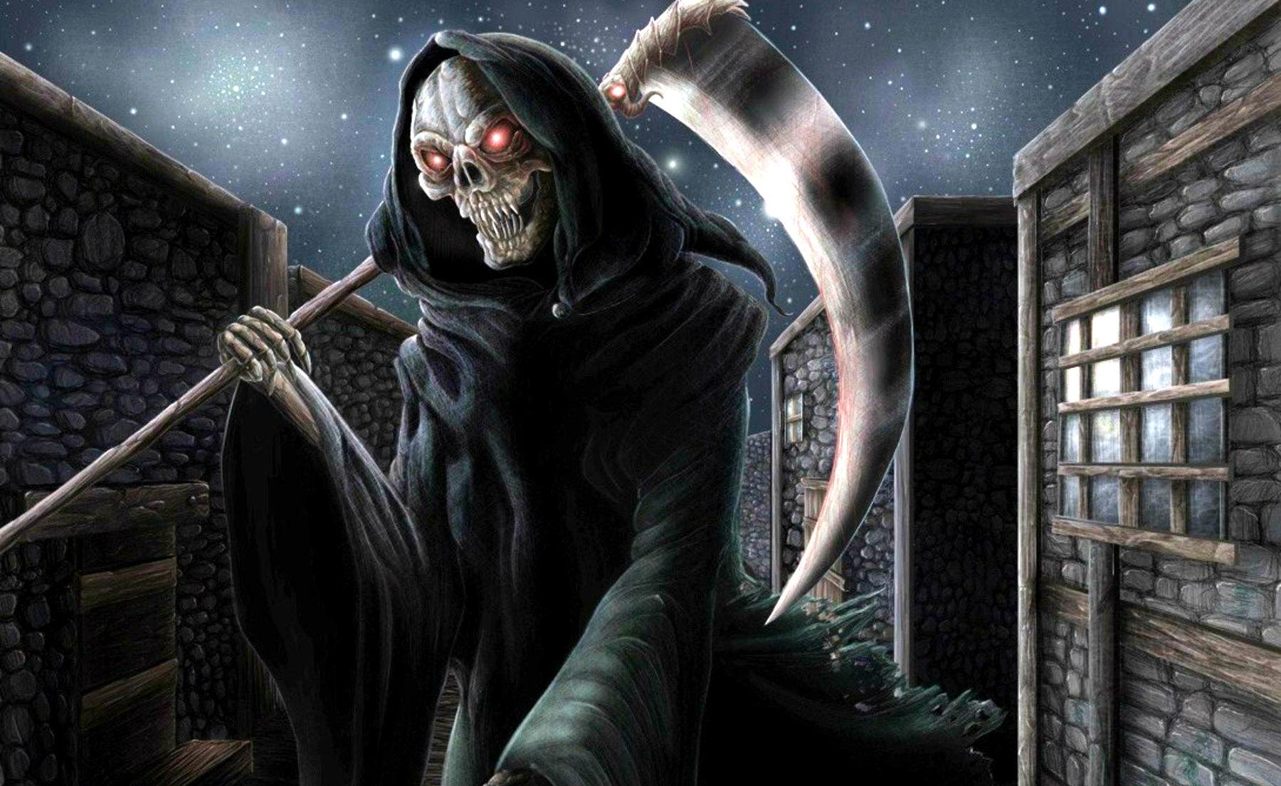 Dark Grim Reaper horror skeletons skull creepy r wallpaper 1800x1104 1800x1104