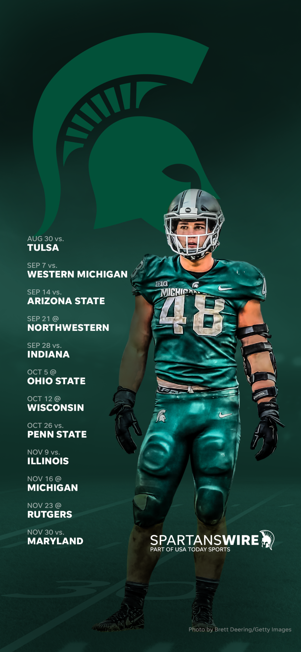 2019 Michigan State Spartans Football Schedule Downloadable Wallpaper 1000x2164