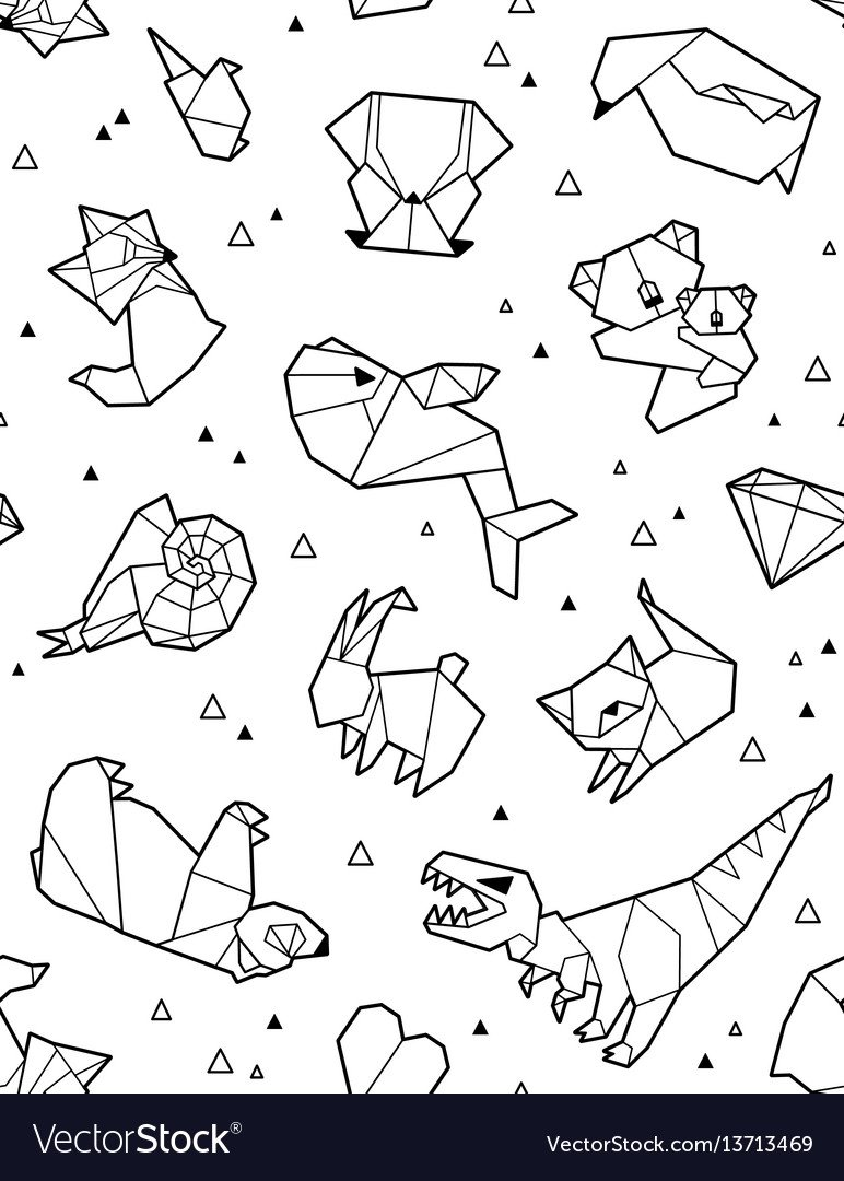 Origami pattern background with outline animals Vector Image 772x1080