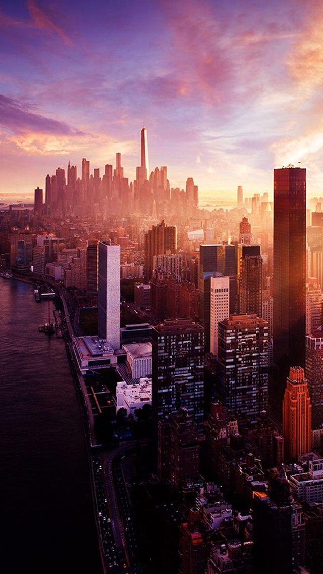 download the New York Sunset City Skyline wallpaper beaty 640x1136