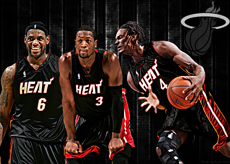 NBA Wallpapers Miami Heat   Lebron James Dwayne Wade Chris Bosh 892x635