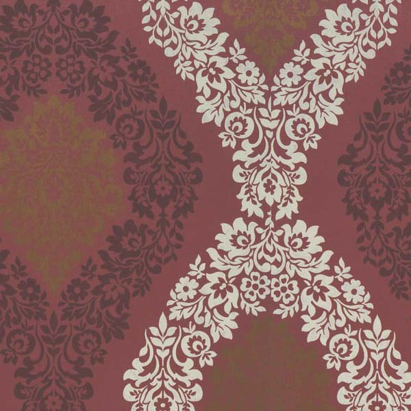 Coral Soft Damask Wallpaper Red Taupe Gold by GranDeco Galerie 600x600