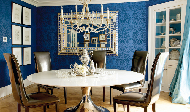 Blue wallpaper for dining room wallpapersafari for Dining room ideas blue