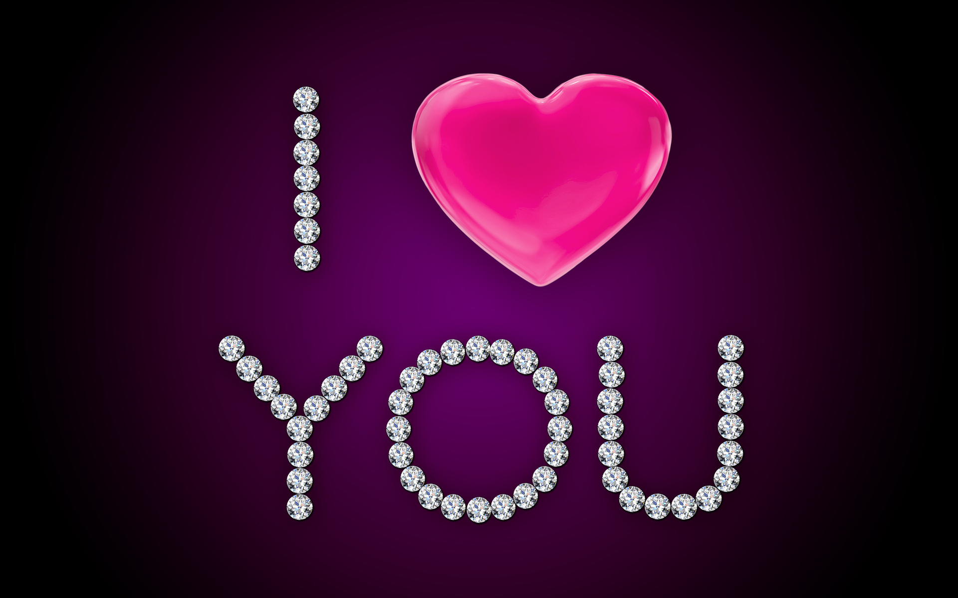 I Love You Pink Heart Diamonds wallpapers I Love You 1920x1200