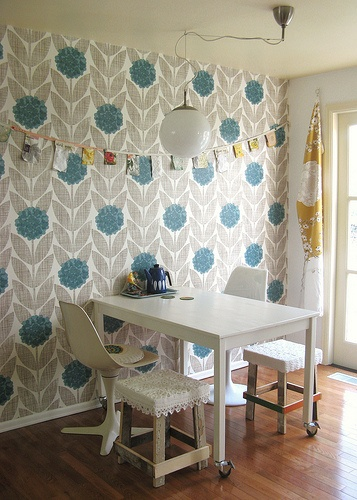 Turquoise Graphic Wallpaper and hints of yellow from Dottie Angel 357x500