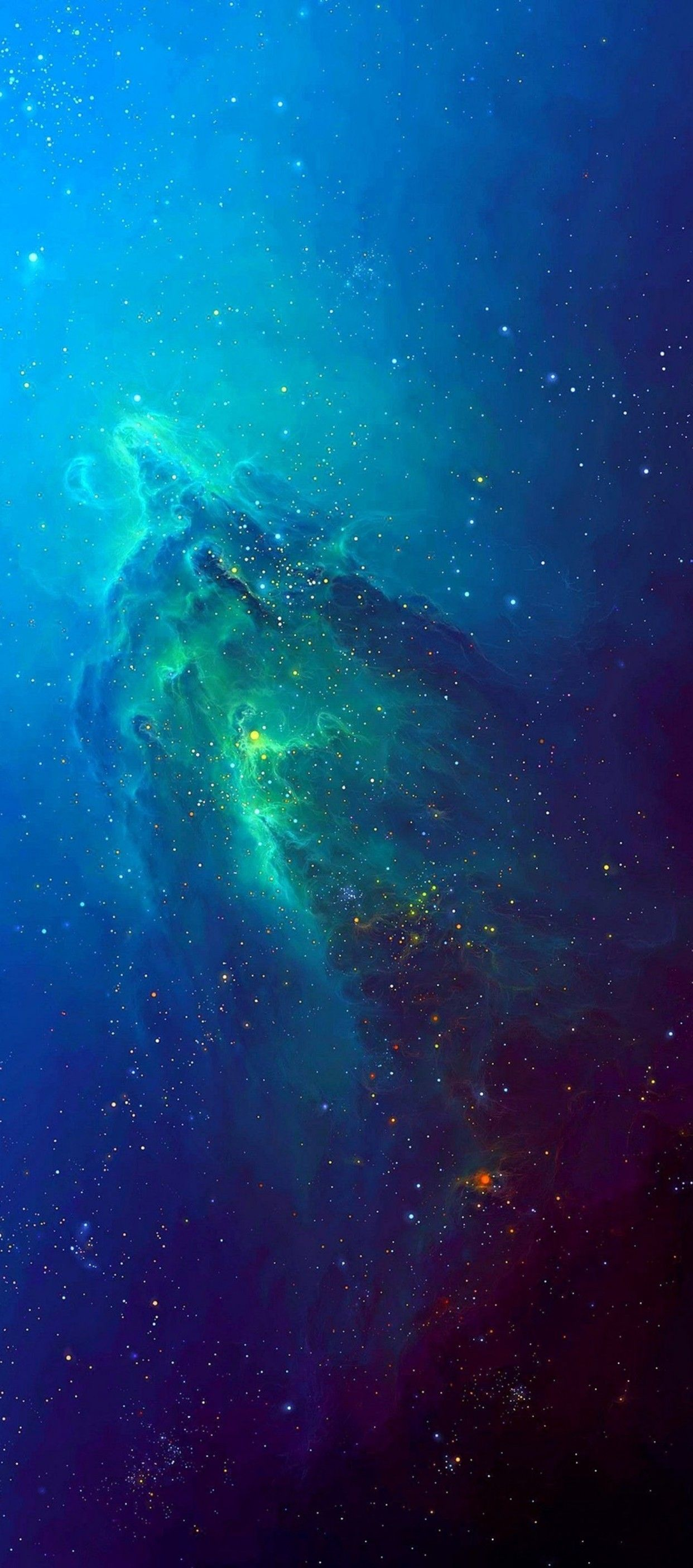 iOS 11 iPhone X stars space blue aqua abstract apple 1242x2809