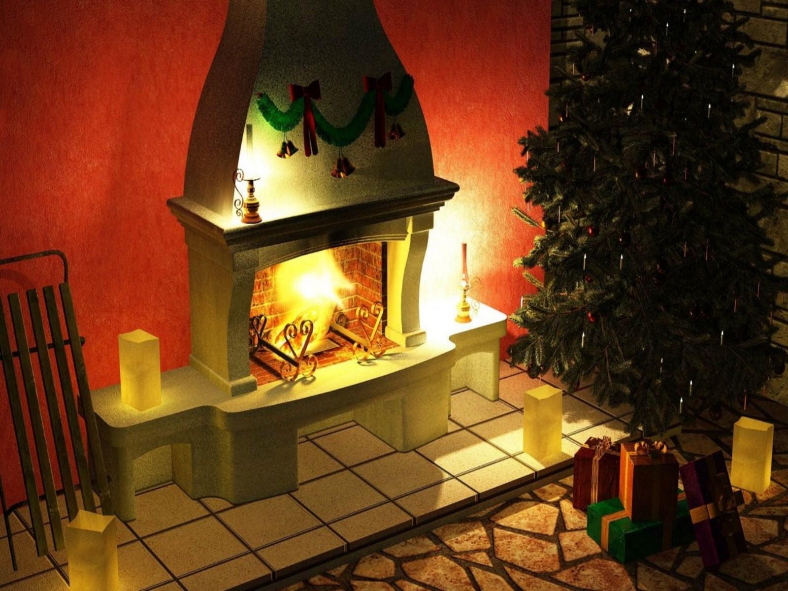 Christmas Fireplace 3d Wallpaper   1600x1200   415411 1600x1200