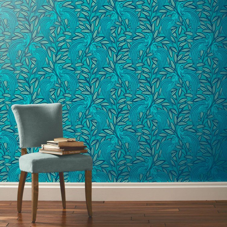 Tailfeather Peacock Blue Designer Wallpaper 750x750