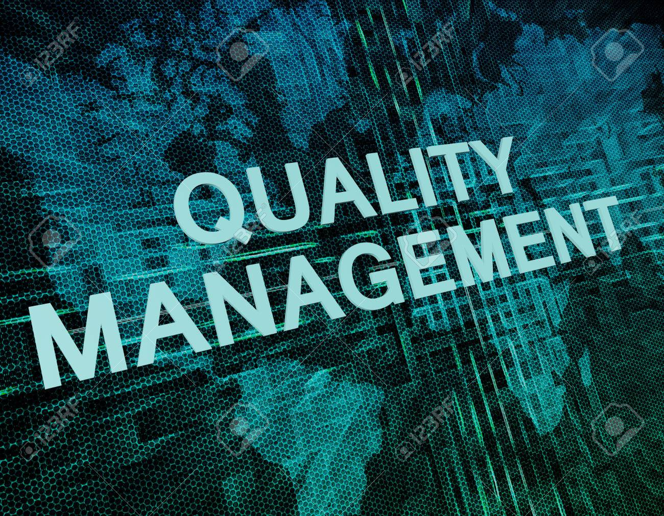 Quality Management Text Concept On Green Digital World Map 1300x1011