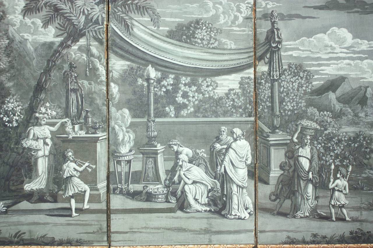 Zuber grisaille wallpaper panoramic landscapes - Grisaille wallpaper ...