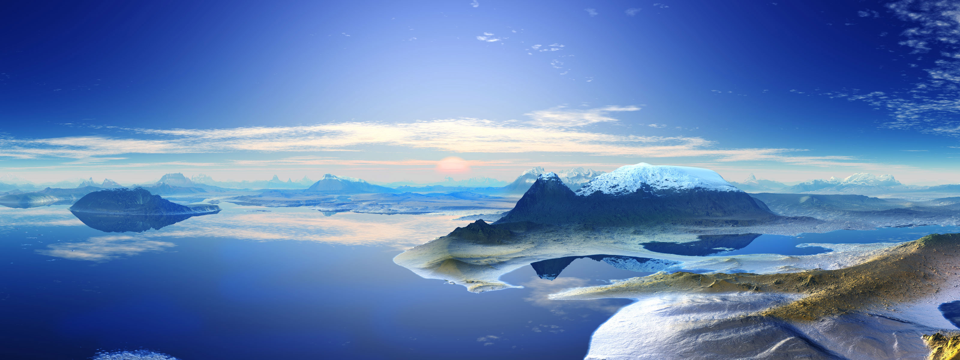 3D Panoramic Landscape Wallpapers HD Wallpapers 3200x1200
