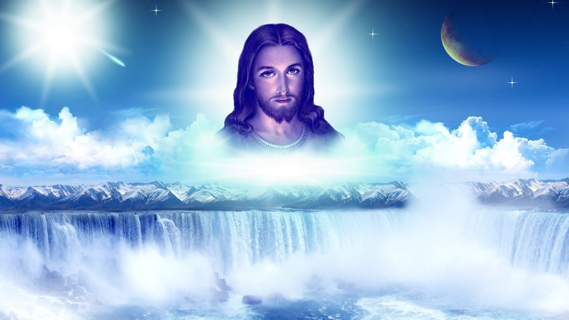 jesus religion waterfall wallpaper background 1920x1080