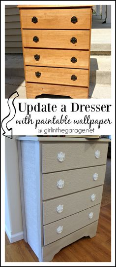to update a dresser with paintable wallpaper   by Girl in the Garage 236x541
