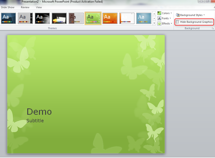 When I check the Hide Background Graphics checkbox the butterflies 915x672