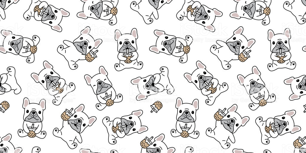 Dog Seamless Pattern French Bulldog Boba Tea Vector Bubble Milk 1024x512