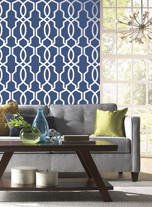 Hourglass Trellis Wallpaper in Gold and Ivory design by York Wallcover 500x681