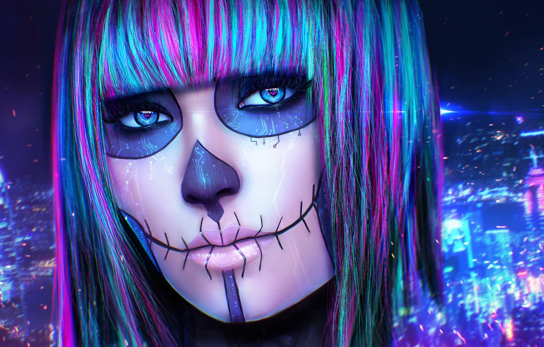 Wallpaper eyes look girl face skull makeup art cyberpunk 1332x850