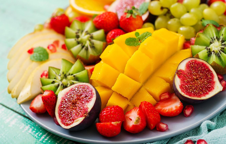 Wallpaper berries orange colorful kiwi strawberry grapes 1332x850