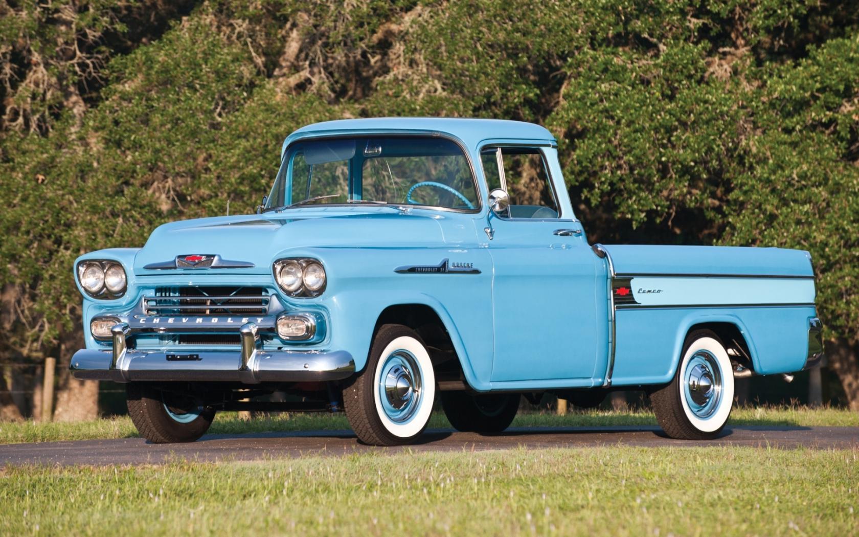 1958 Chevy Cameo Classic Pickup Truck Wallpaper   HD 1680x1050