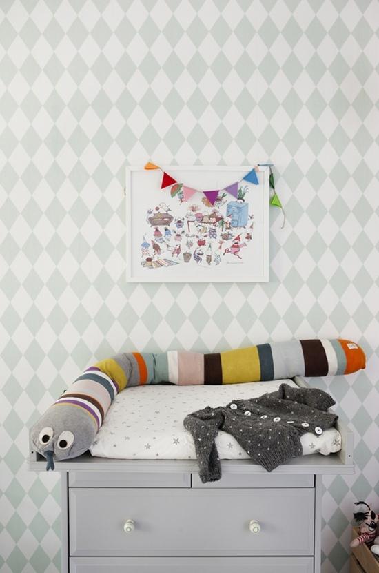 mommo design blog   Harlequin Wallpaper KIds room Pinterest 550x830