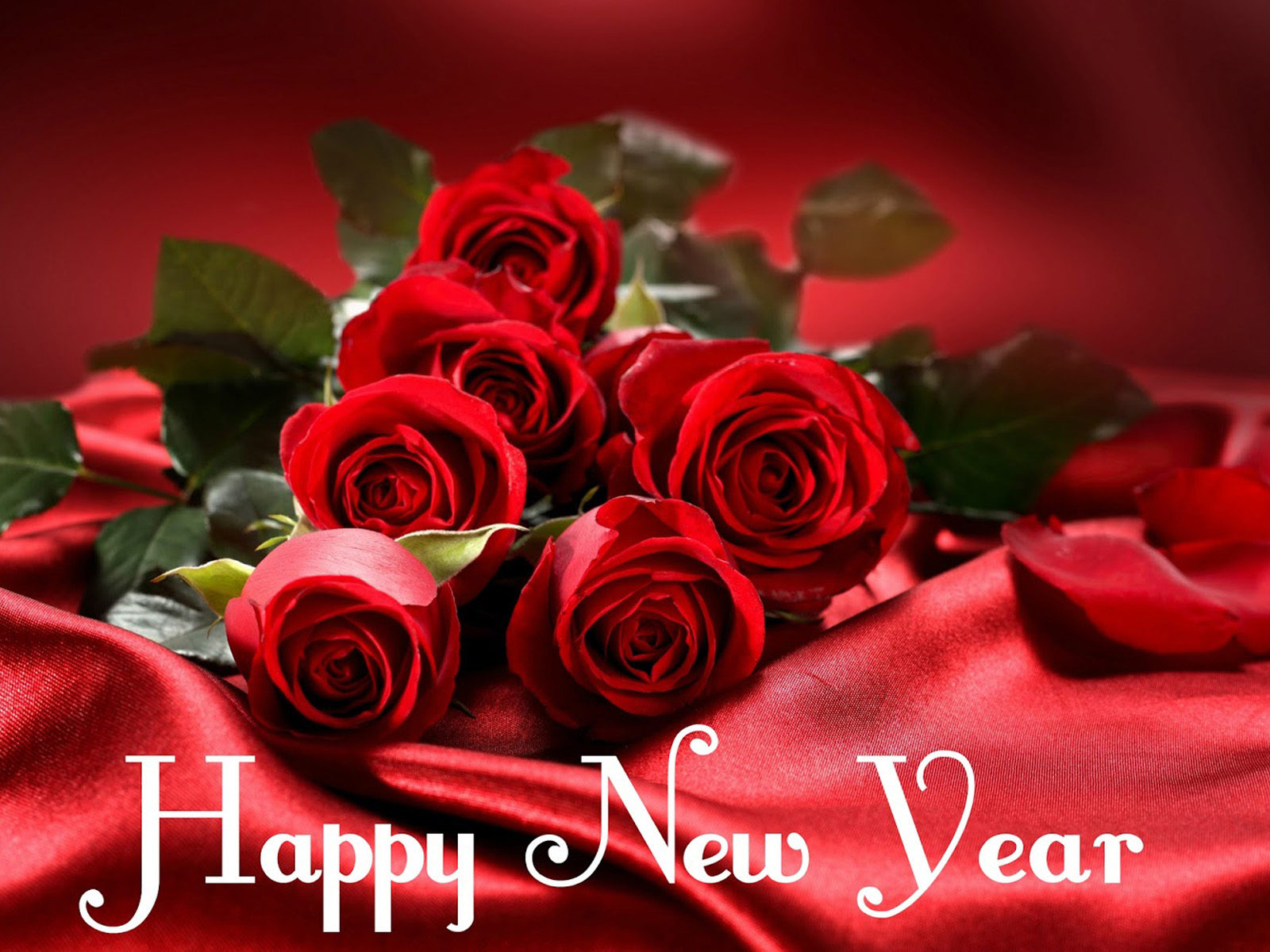 Happy New Year Red Roses Flower Images 2020 Greeting Card 1600x1200