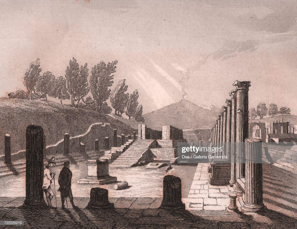 View Of Temple Of Apollo With Mount Vesuvius In Background Pompeii 1024x791