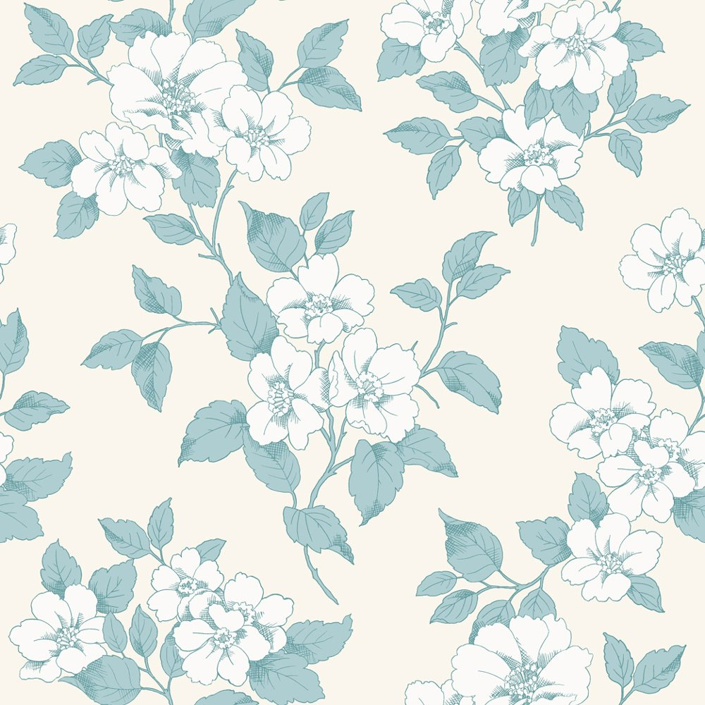 Free Download Floral Leaf Pattern Silver Teal Flower Motif